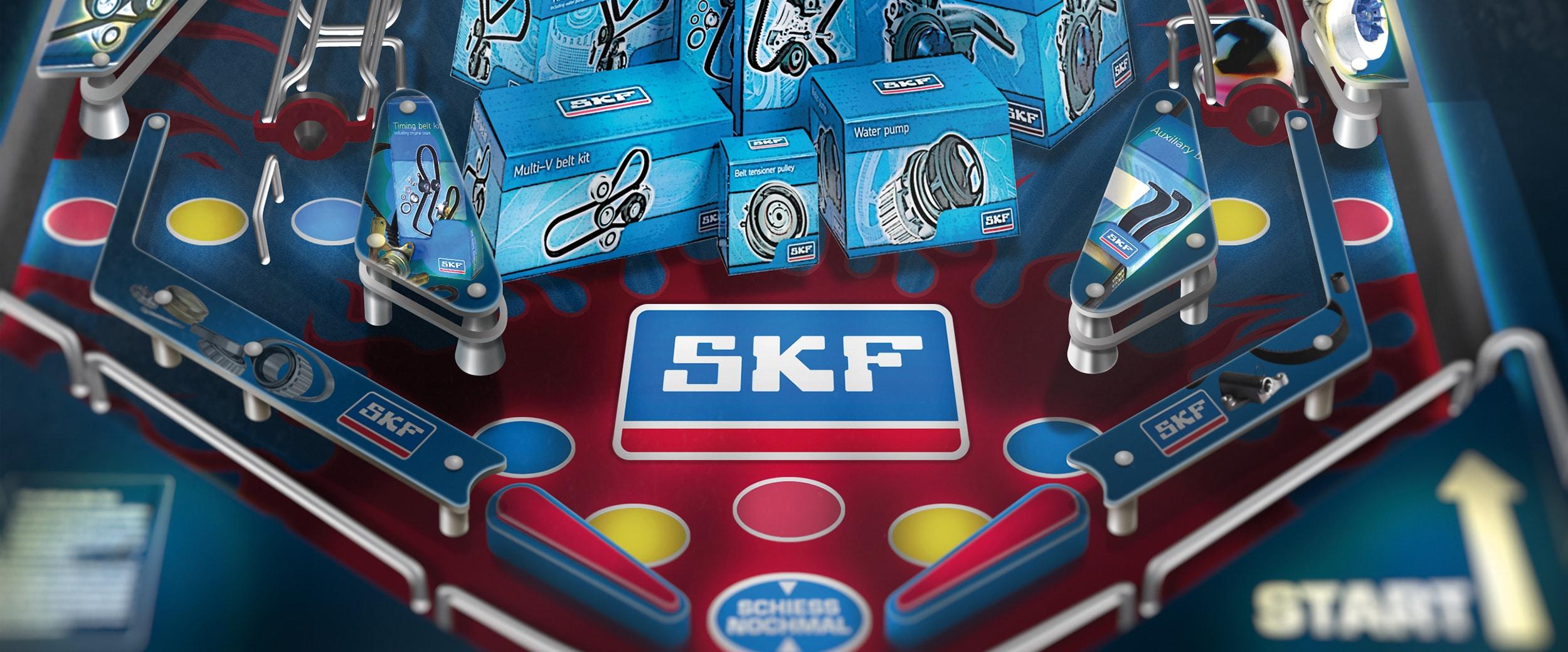 Zeichnung eines Flippers mit SKF-Logo.