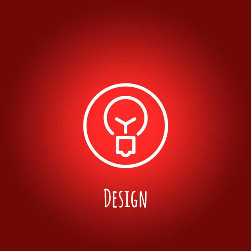 Weißes Icon auf rotem Hintergrund
